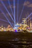Lasershow im Hamburger Hafen