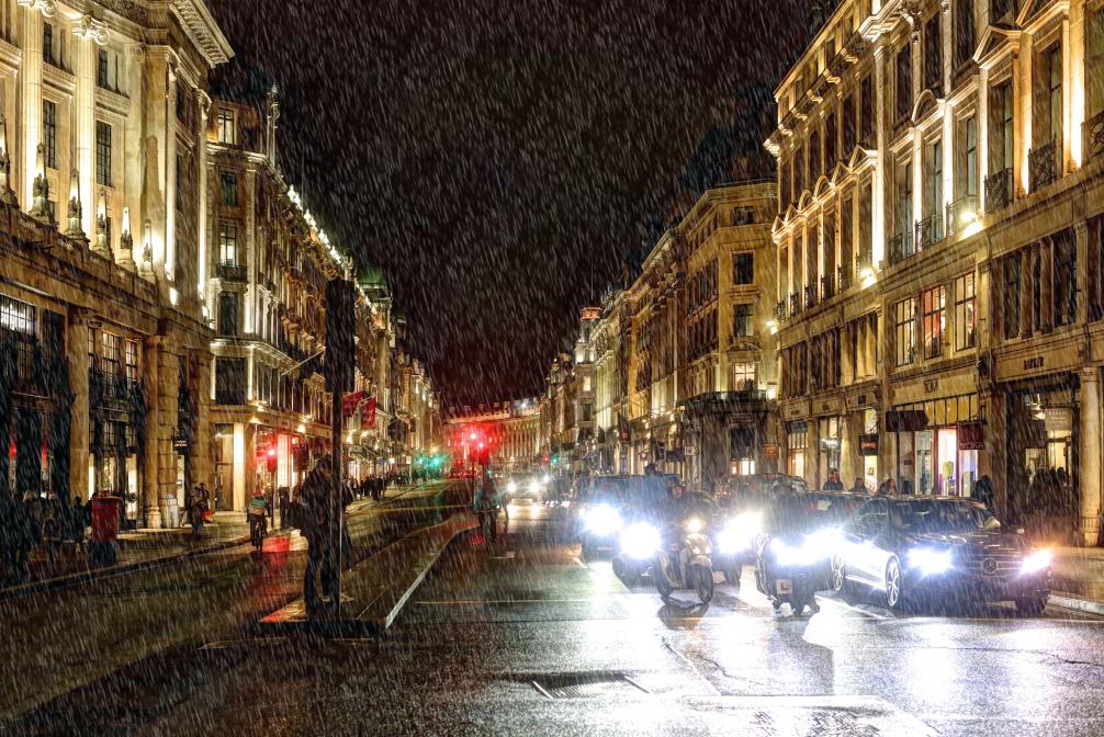 Londyn w deszczu
